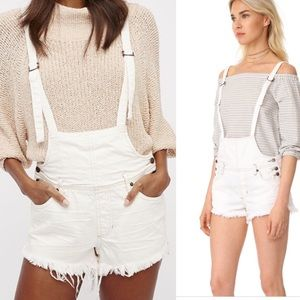 Free People Strappy Shorttalls white overalls